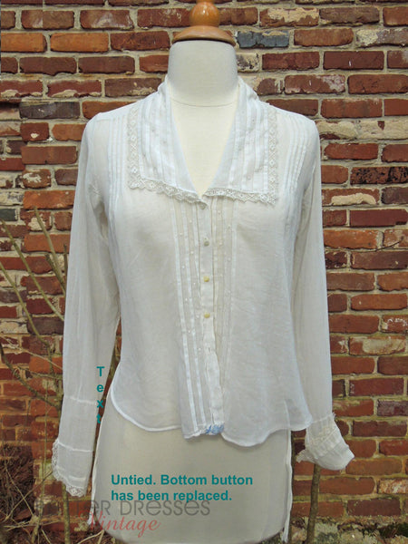 10s White Cotton Blouse - untied