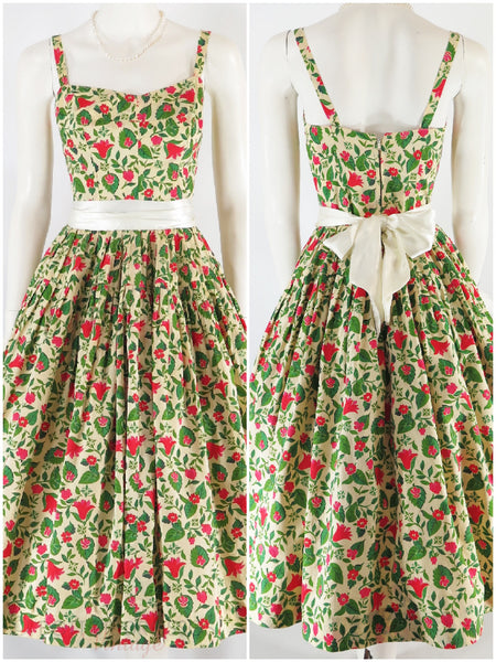 50s Full Skirt Sundress & Bolero Set - dress with sash