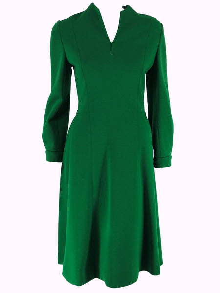 60s Green Doubleknit Wool Dress - close view