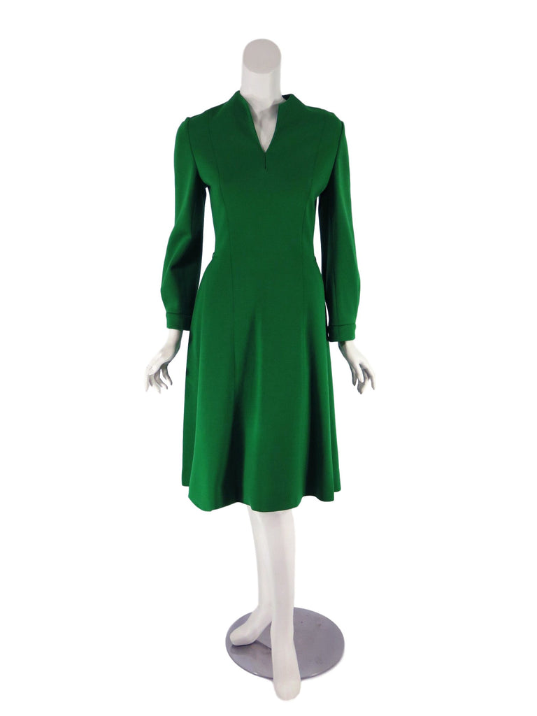 60s Knit Green Dress - front