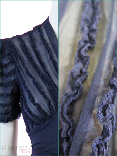 30s/40s Navy Dress - ruffle detail