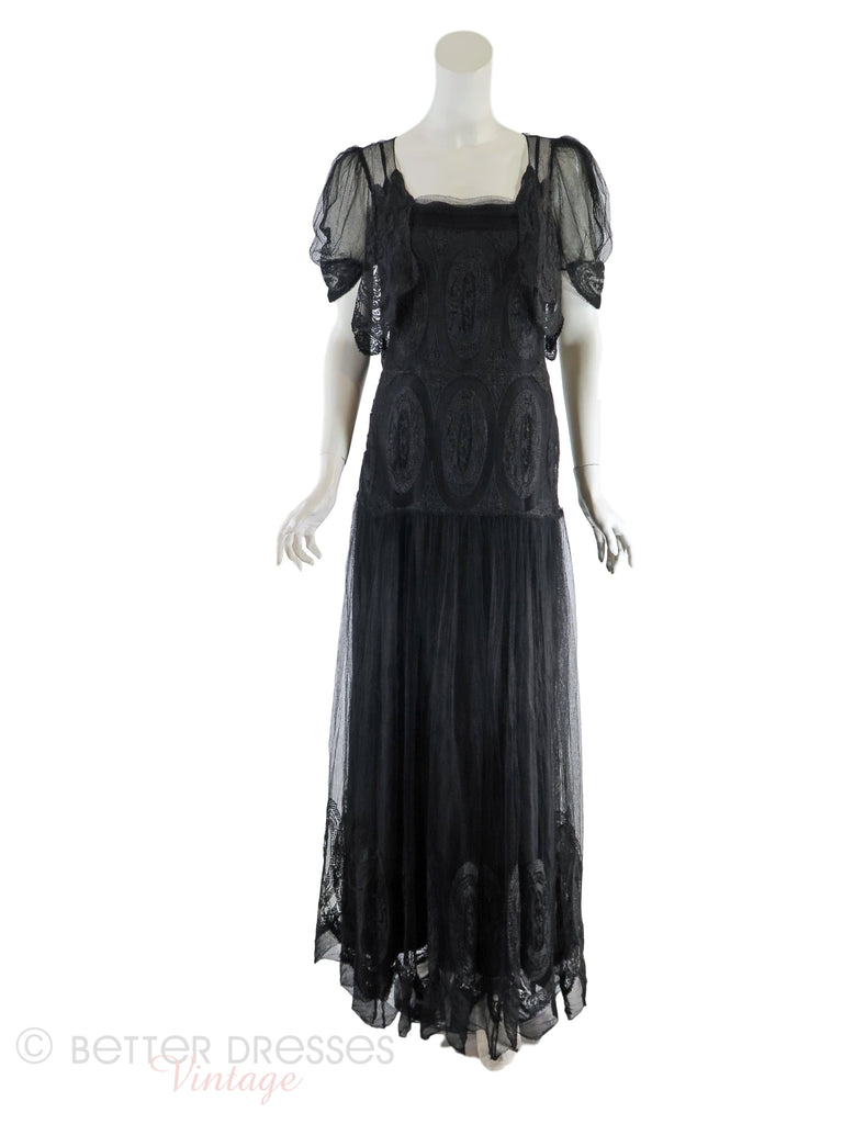 30s Black Lace Gown + Slip - Full view