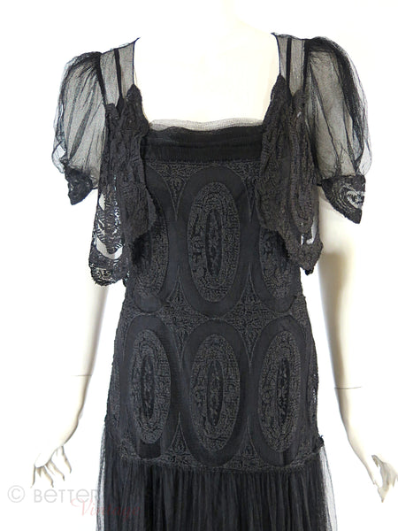 30s Black Lace Gown + Slip - close