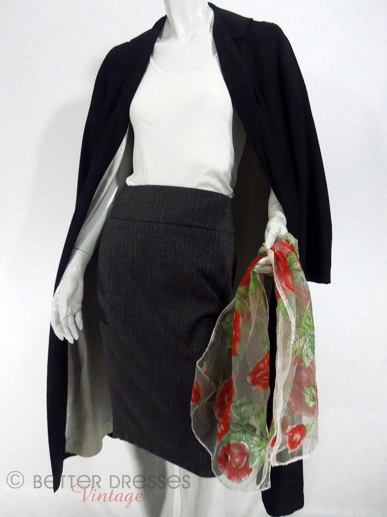 50s Black Silk Duster Coat