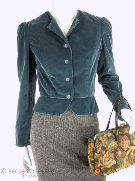 1970s Blue Velvet Peplum Jacket at Better Dresses Vintage. - top hook&eye open