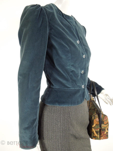1970s Blue Velvet Peplum Jacket at Better Dresses Vintage. - angle view