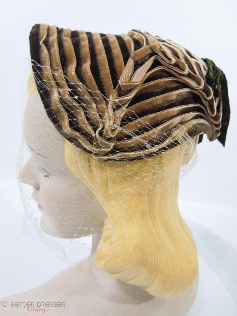 40s Brown Ribbon Bonnet-Style Veil Hat at Better Dresses Vintage. Left side.