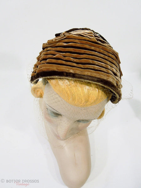 40s Brown Ribbon Bonnet-Style Veil Hat at Better Dresses Vintage. Top view.