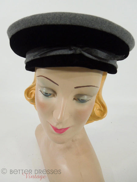 1950s Black & gray nautical beret hat by Cecille Lorraine at Better Dresses Vintage.