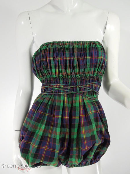 Vintage 1940s 40s Claire Mccardell Playsuit In Blue Plaid