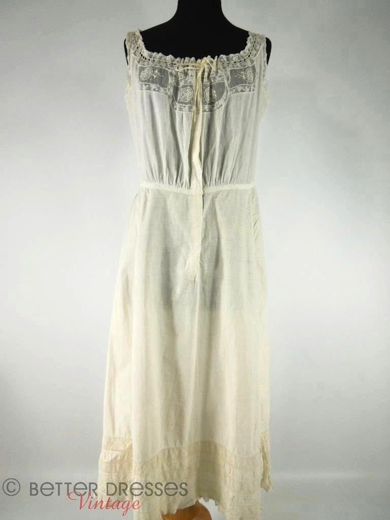 Edwardian Lawn and Lace Slip Petticoat by Plume at Better Dresses Vintage. overview.
