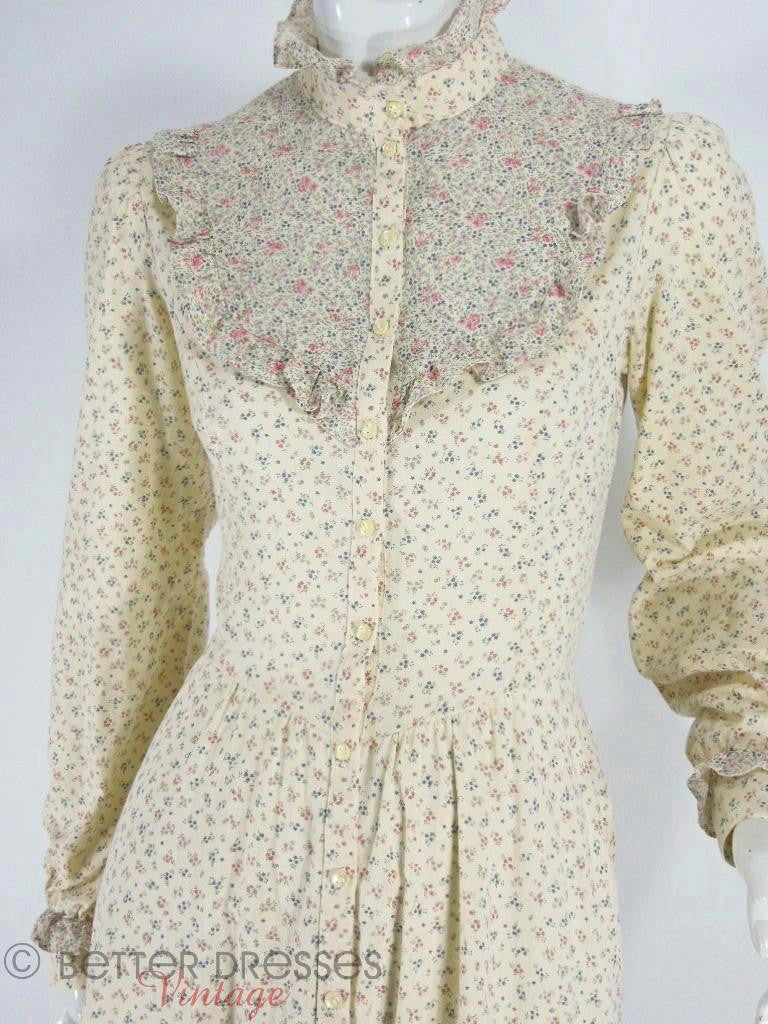 70s Gunne Sax Cream Floral Neo-Victorian Dress at Better Dresses - close view
