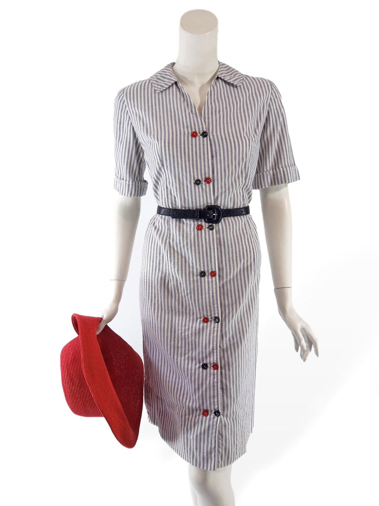 Vintage Patriotic Red White and Blue Shift Shirtwaist Dress