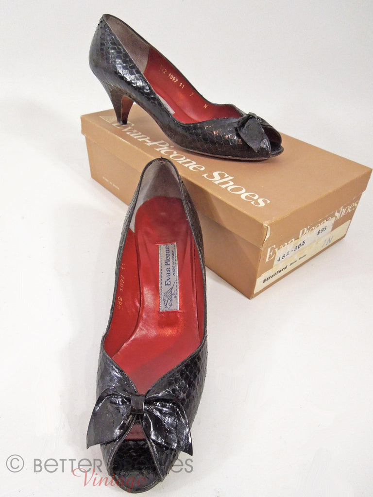 80s Evan-Picone Black Snakeskin Shoes - with box