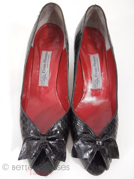 80s Evan-Picone Black Snakeskin Shoes - top view