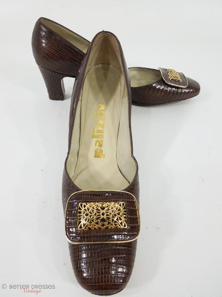 1960s Palizzio Brown Lizard Pilgrim Pumps. Megan Draper Shoes. At Better Dresses Vintage.