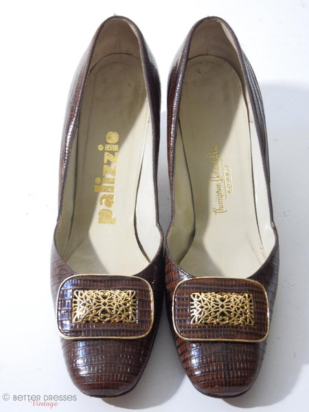 1960s Palizzio Brown Lizard Pilgrim Pumps. Megan Draper Shoes. At Better Dresses Vintage. fronts