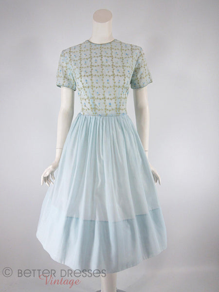 50s/60s Embroidered Light Blue Dress - front