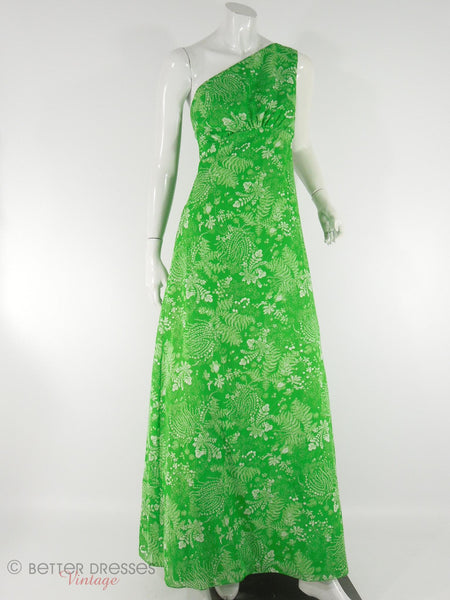 70s Priscilla of Boston Green Fern Print One-Shoulder Maxi Bridesmaid Formal Gown and Wrap at Better Dresses Vintage.