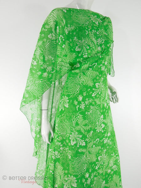 70s Priscilla of Boston Green Fern Print One-Shoulder Maxi Bridesmaid Formal Gown and Wrap at Better Dresses Vintage. Wrap, close view.