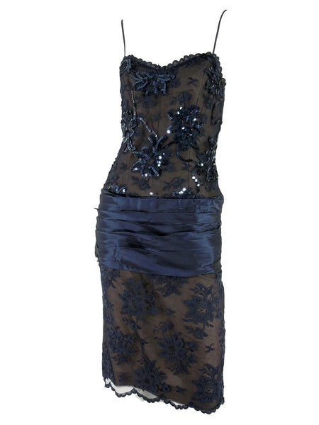 80s Blue Lace Party Dress