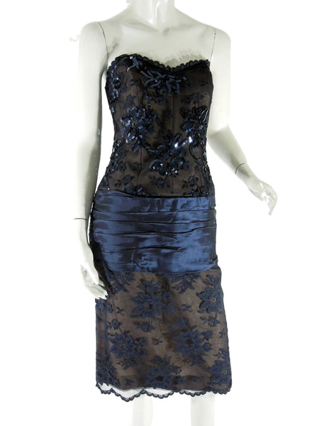 80s Blue Lace Party Dress - worn strapless