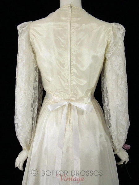 70s Cream Wedding Dress - sm