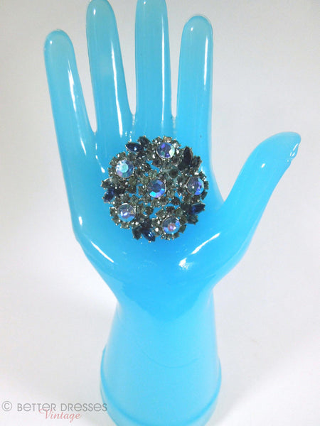 60s Crown Trifari Blue AB Brooch