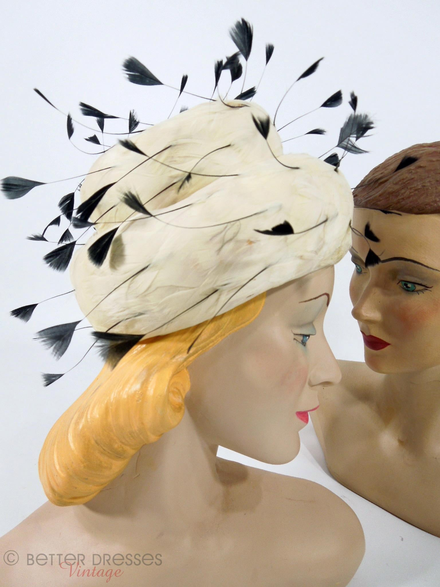 Vintage 1950s 1960s Feather Hat in White and Black by Evelyn Varon ... 73a509780c7