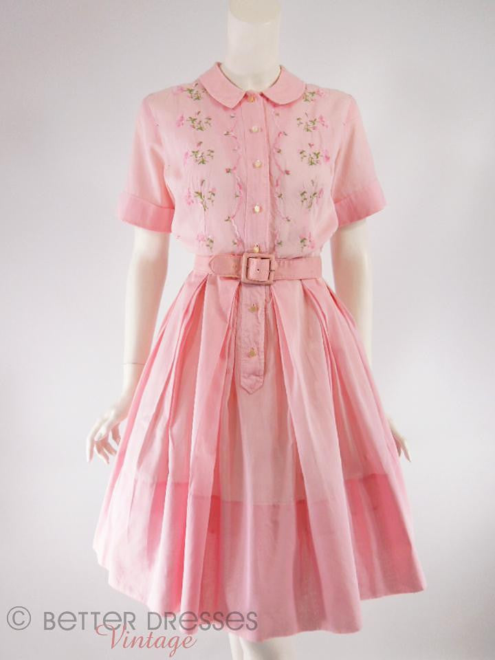 50s/60s Embroidered Pink Cotton Shirtwaist