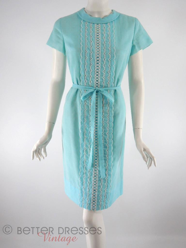 Vintage 60s Blue Belted Shift Dress - front
