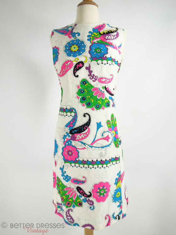 60s/70s Alex Colman Psychedelic Paisley Shift Dress - sm