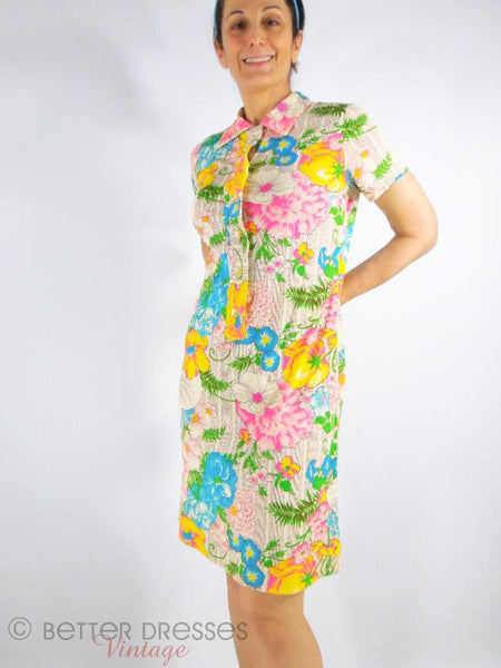60s Shift Dress in Neon Floral Nylon - on a person