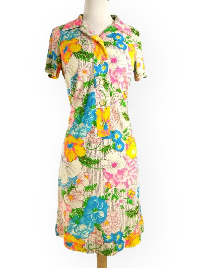 60s Neon Floral Nylon Shift Dress by L'Aiglon - sm