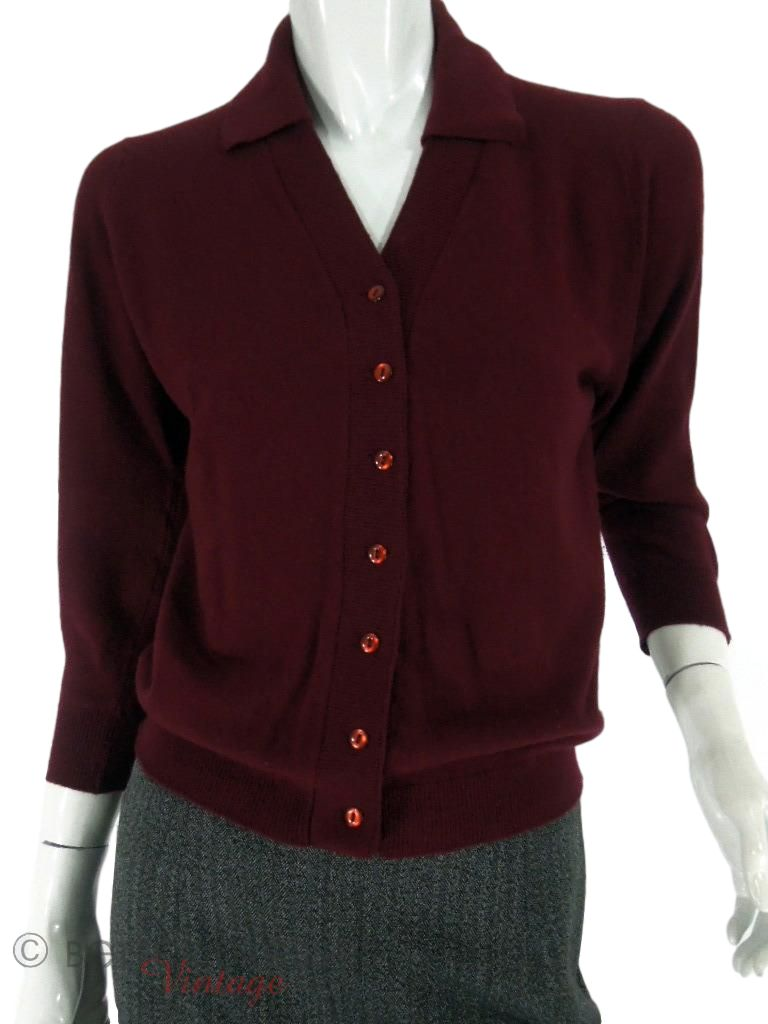 50s Burgundy Cashmere Cardigan Sweater