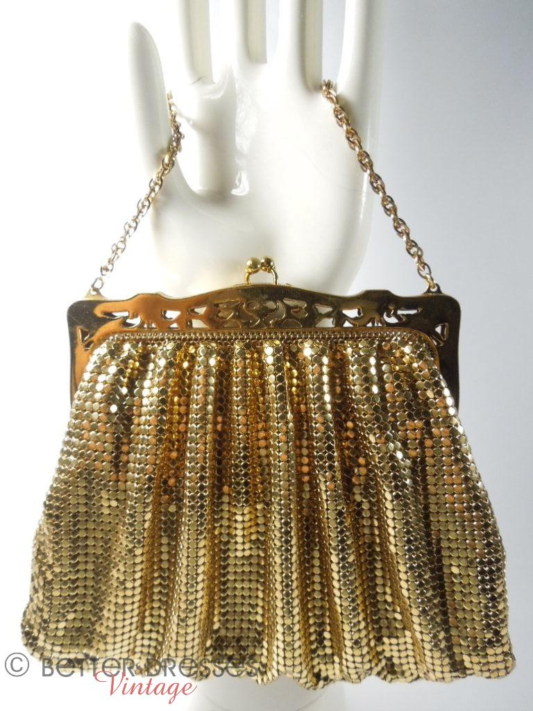1940s Whiting & Davis Gold Metal Mesh Purse at Better Dresses Vintage