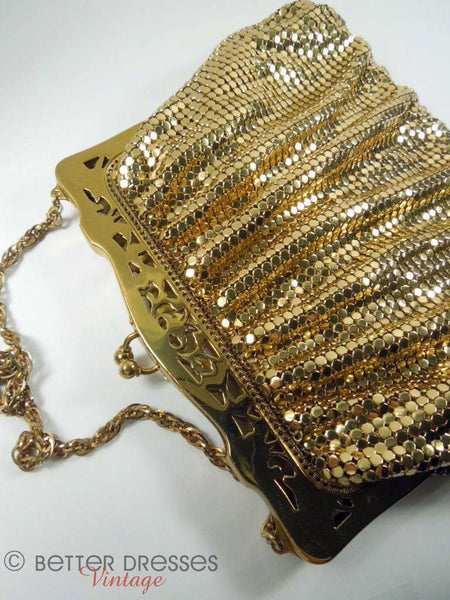 1940s Whiting & Davis Gold Metal Mesh Purse at Better Dresses Vintage - lying down