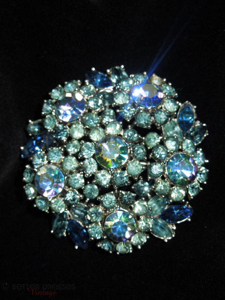 Crown Trifari 1961 Blue Green AB Brooch from Memo to a Smart Woman campaign, at Better Dresses Vintage