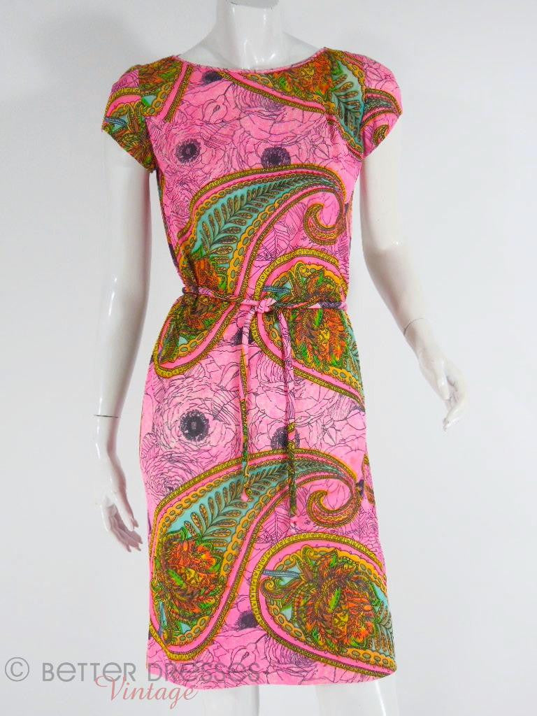 60s Psychedelic Paisley Dress - sm