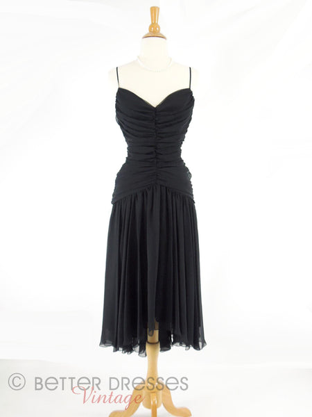 80s Ruched Black Chiffon Dress - front view