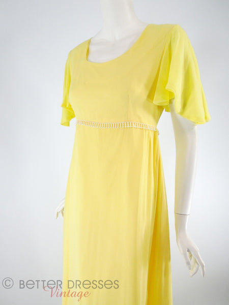 60s Maxi Dress in Yellow Chiffon - xs, sm