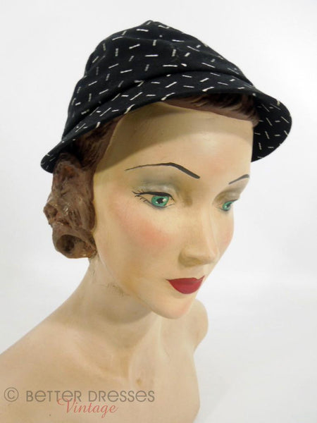 1950s black and white calot style hat at Better Dresses Vintage - front angle view