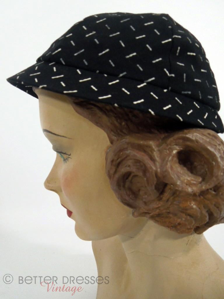 1950s black and white calot style hat at Better Dresses Vintage - side view