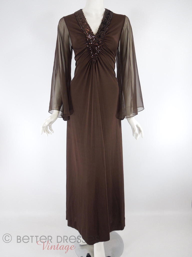 70s Coffee Brown Sequined V-Neck Maxi Dress - front