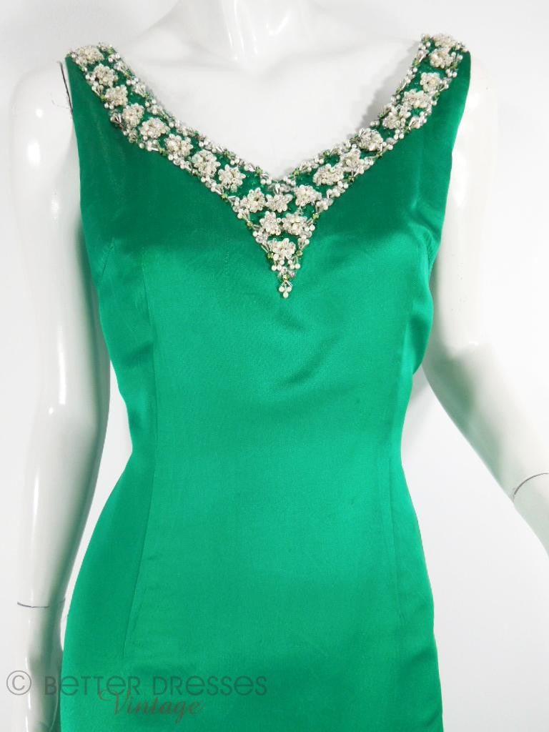 60s Kelly Green Satin Beaded Gown - med