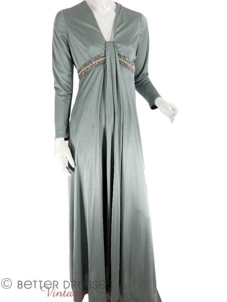 60s/70s Silver Blue Maxi Gown