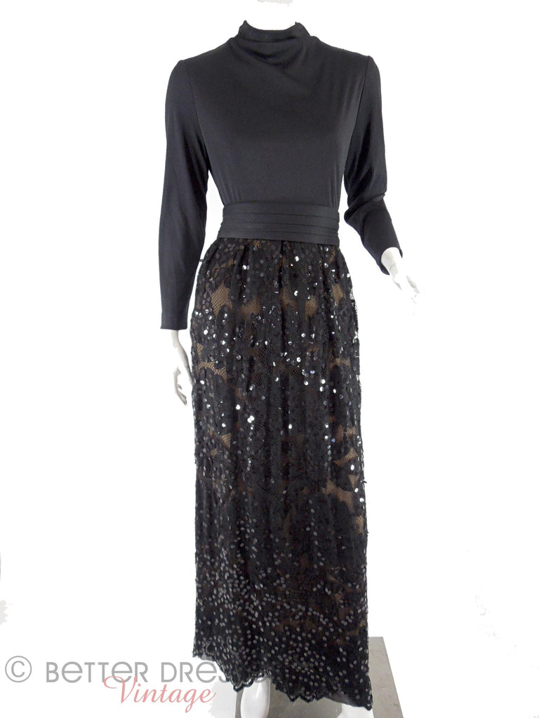 70s Black Sequin Maxi Dress - med