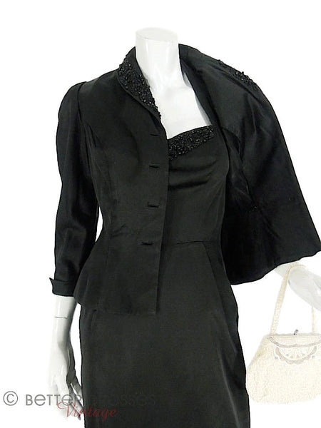 1940s Beaded Black Halter Dress and Peplum Jacket Suit