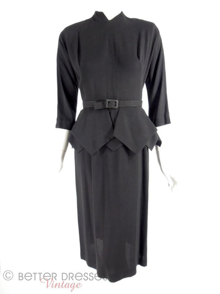 40s/50s Black Rayon Peplum Dress - sm