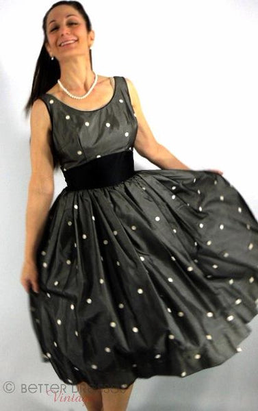 50s Black and White Polka Dot Party Dress - sm